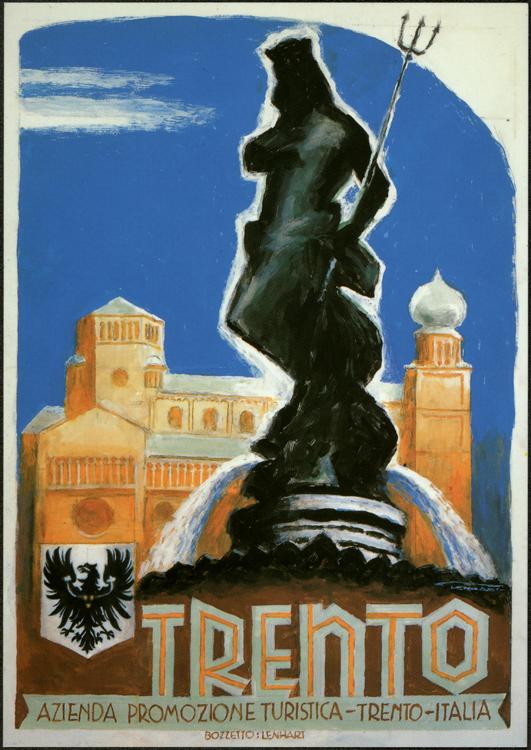 Trento. Manifesto pubblicitario. Bozzetto di Franz Lenhart (1990)